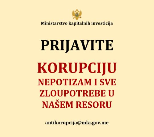 Prijavite korupciju, nepotizam i sve zloupotrebe u našem resoru